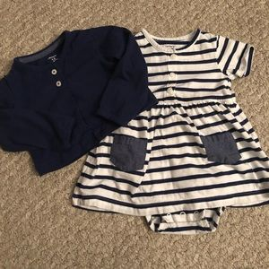 Baby Girl Navy & White Striped Dress w/ Sweater
